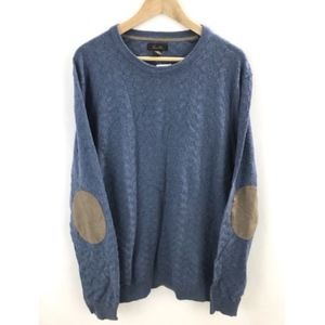 Tasso Elba Blue Crewneck Sweater Elbow Patch